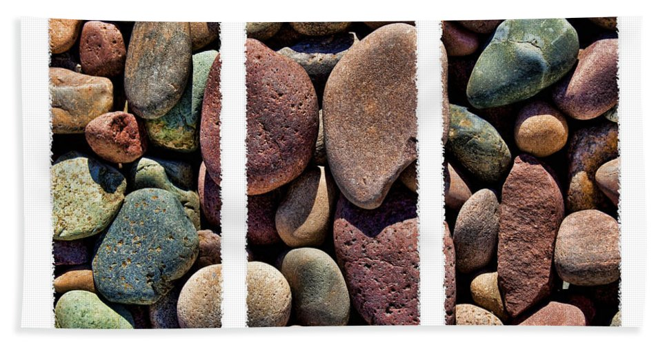 Stones Bath Sheet featuring the photograph Stone Triptych by Kelley King