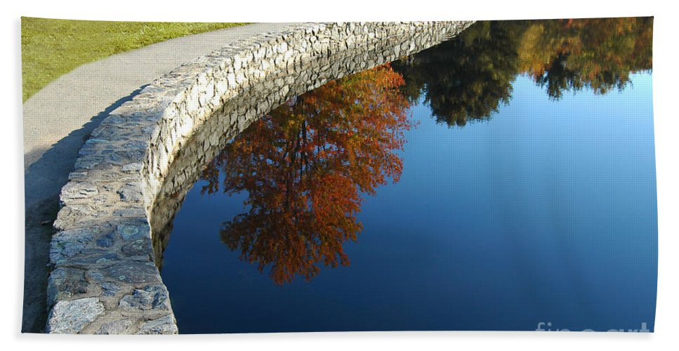 Autumn Bath Sheet featuring the photograph Stonewall And Autumn Reflections by Mike Nellums