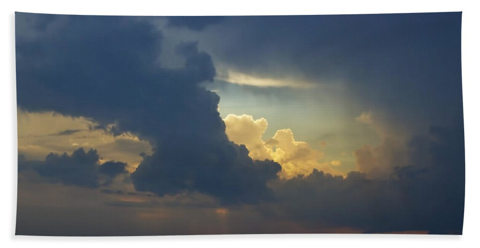 Art Bath Sheet featuring the photograph Storm Clouds At Sunset Over Lake Michigan by Randall Nyhof