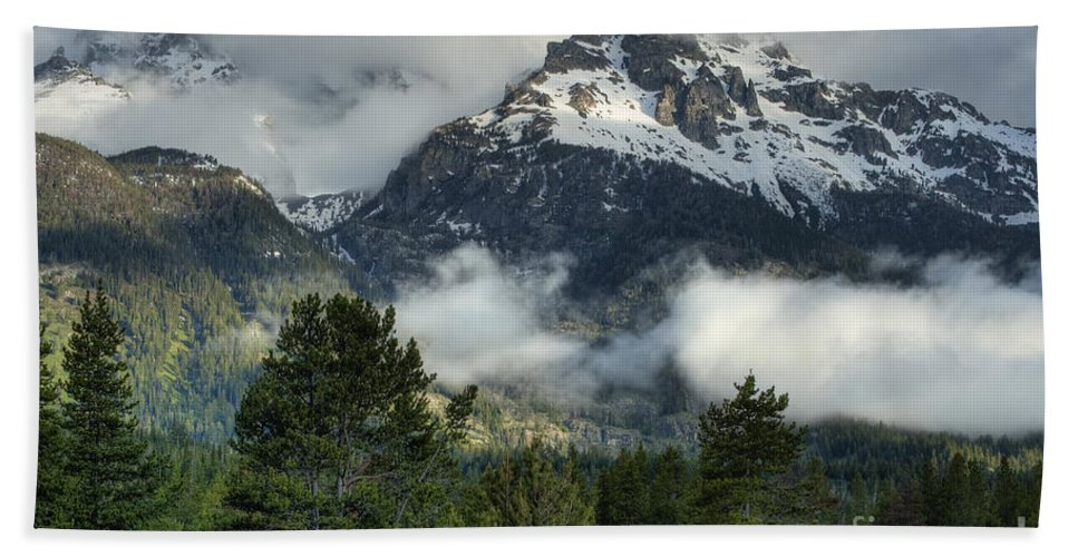 Hdr Bath Sheet featuring the photograph Storm In The Tetons by Sandra Bronstein