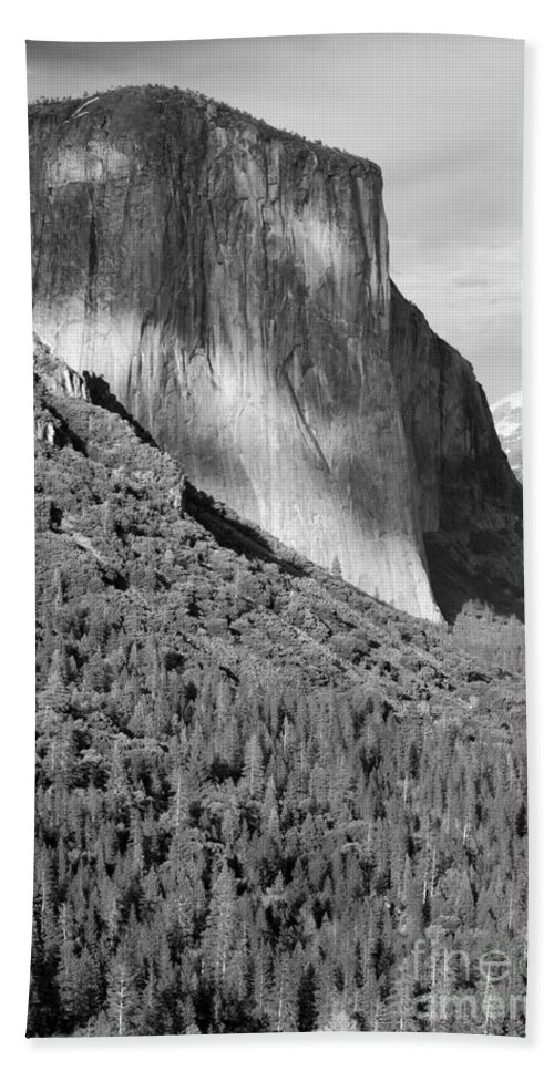 Black&white Hand Towel featuring the photograph Storm Over El Capitan by Sandra Bronstein