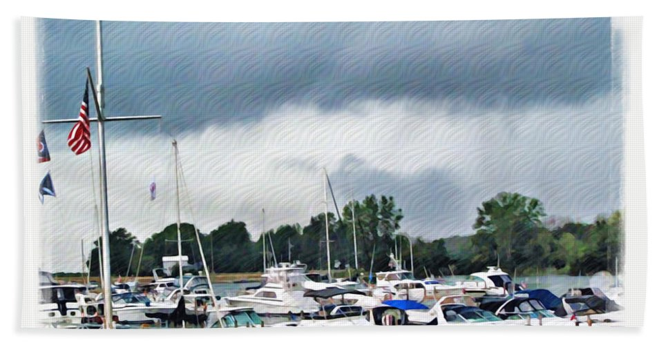 Erie Bath Sheet featuring the photograph Storm Over Lake Erie by Joan Minchak