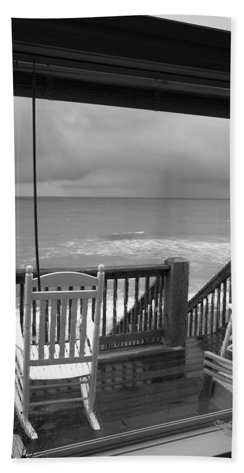 Beach Bath Sheet featuring the photograph Storm-rocked Beach Chairs by Betsy Knapp