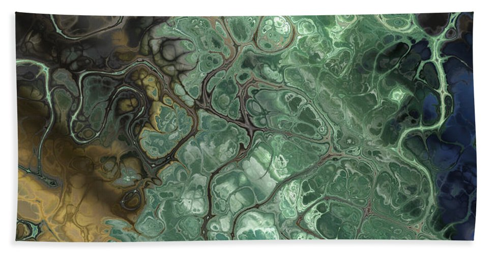 Abstract Bath Sheet featuring the digital art Stormy Waterspout by Debbie Portwood