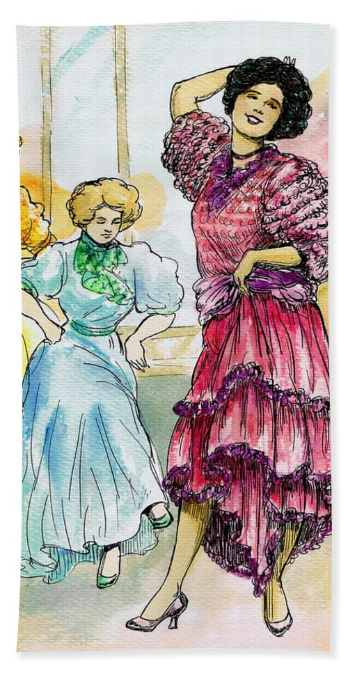 Women Hand Towel featuring the drawing Storyville by Mel Thompson