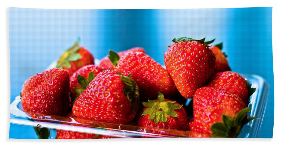 Beautiful Bath Sheet featuring the photograph Strawberries In A Plastic Sale Box by U Schade