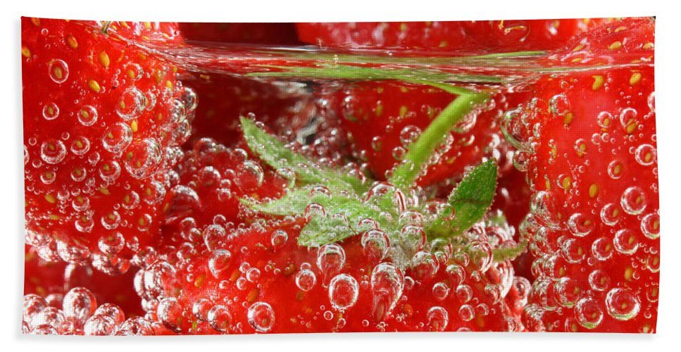 Strawberry Hand Towel featuring the photograph Strawberries In Water Close Up by Simon Bratt Photography LRPS