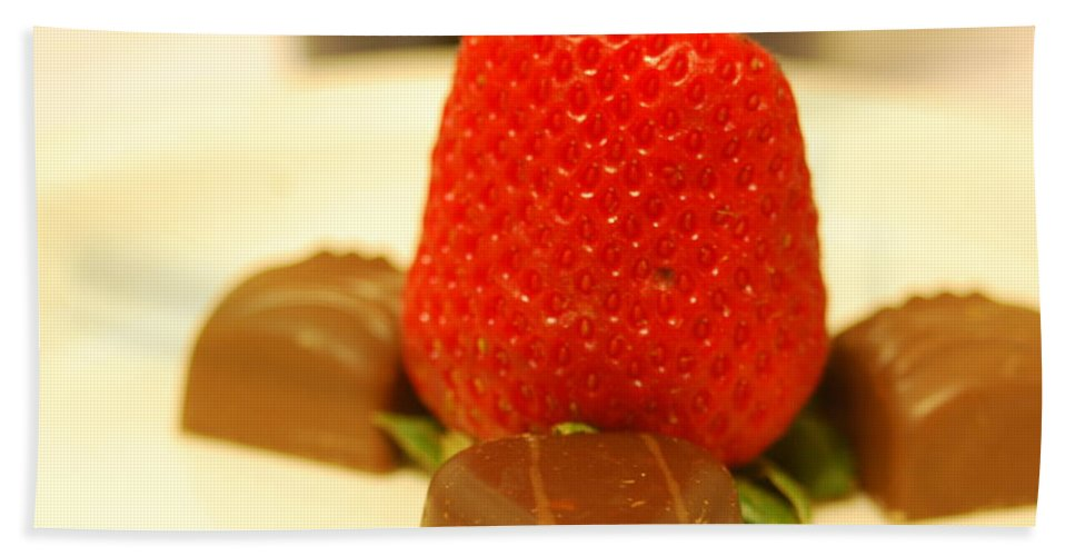 Strawberry Hand Towel featuring the photograph Strawberry And Chocolate by Michael Merry