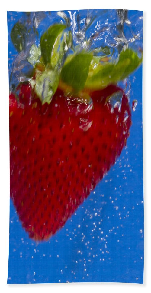 Red Hand Towel featuring the photograph Strawberry Soda Dunk 7 by John Brueske