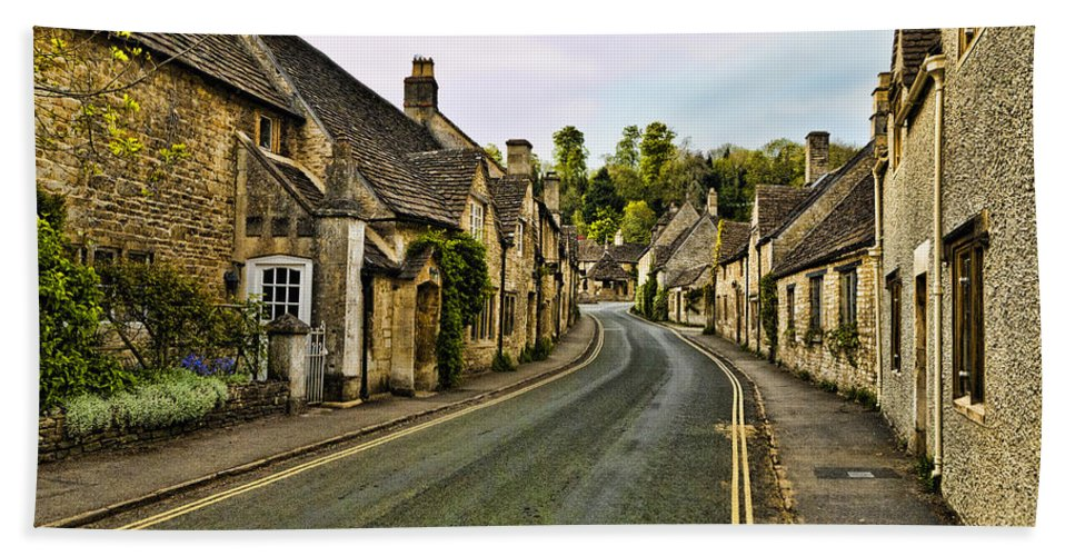 Castle Combe Bath Sheet featuring the photograph Street In Castle Combe by Jon Berghoff