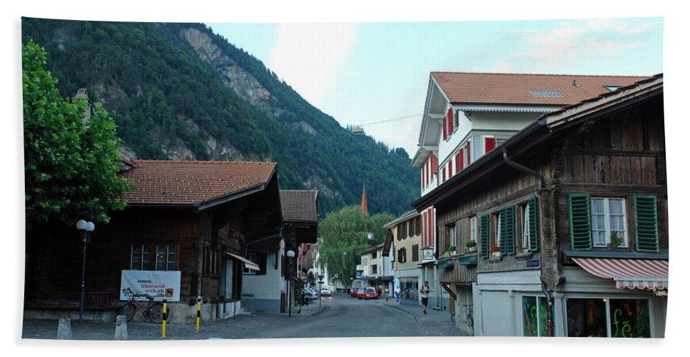Interlaken Bath Sheet featuring the photograph Street In Interlaken In Switzerland by Ashish Agarwal