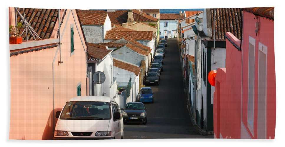 Portugal Hand Towel featuring the photograph Street In Lagoa - Azores by Gaspar Avila