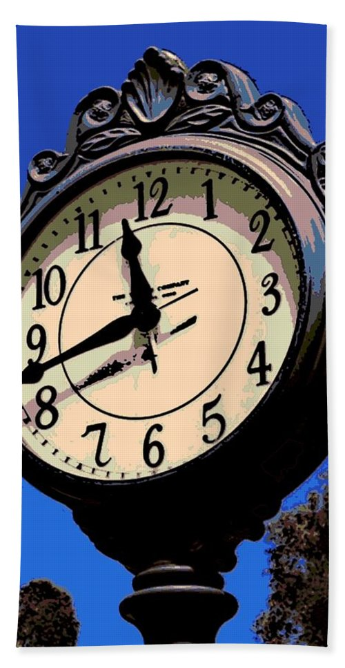 Street Clock Hand Towel featuring the photograph Street Time by George Pedro