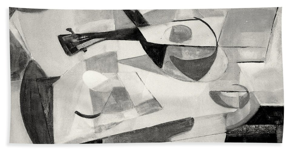 Modern Painting In Black And White Hand Towel featuring the painting Stringed Instrument On Table by Betty Pieper