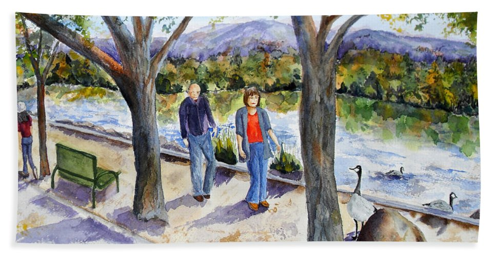 Strolling Bath Sheet featuring the painting Strolling Virginia Lake by Vicki Housel