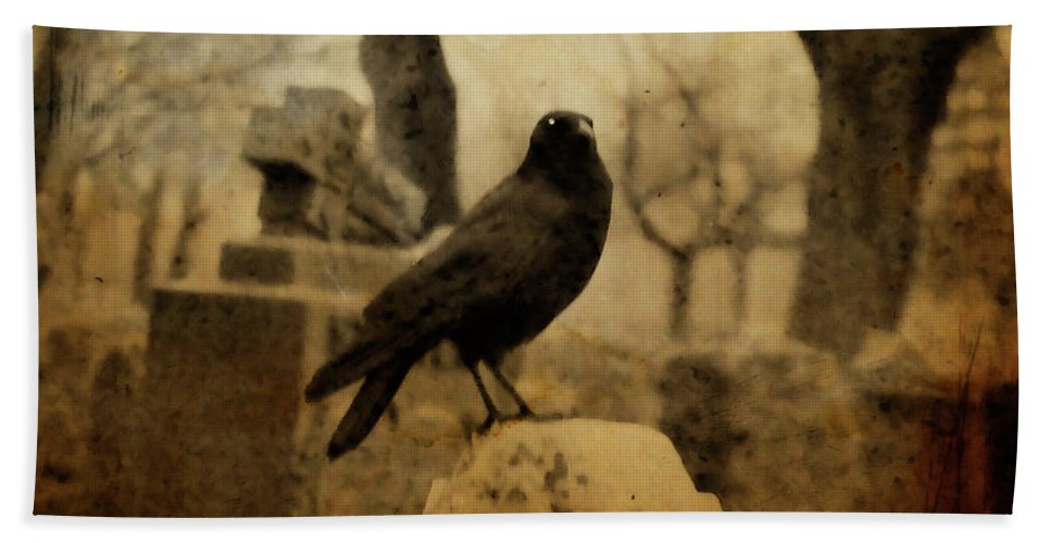 Raven Bath Sheet featuring the photograph Study Of The Surly Raven by Gothicrow Images