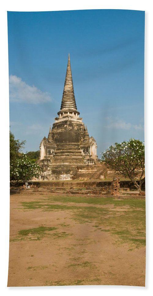 Architecture Bath Sheet featuring the photograph Stupa Chedi Of A Wat In Thailand by U Schade