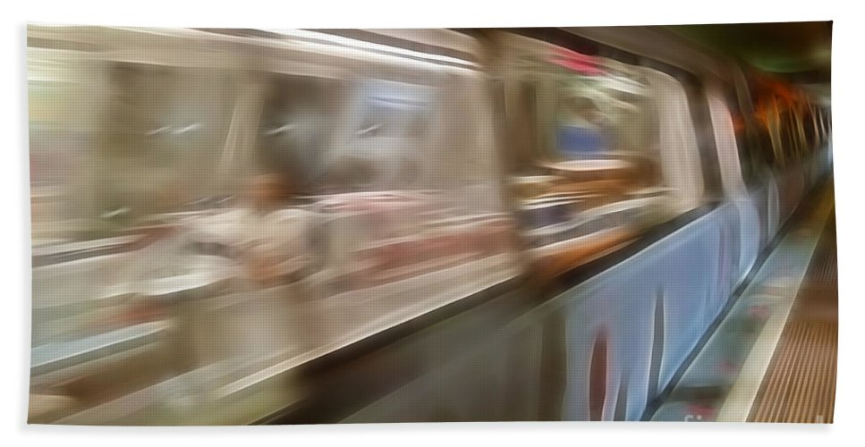 Subway Bath Sheet featuring the photograph Subway Blur by Darleen Stry