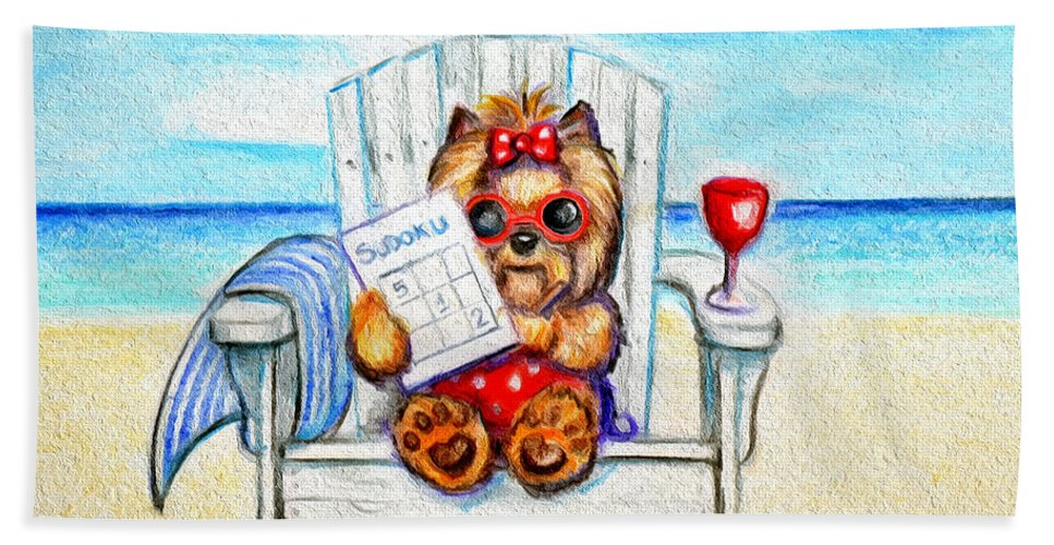 Yorkie Bath Sheet featuring the mixed media Sudoku At The Beach by Catia Lee