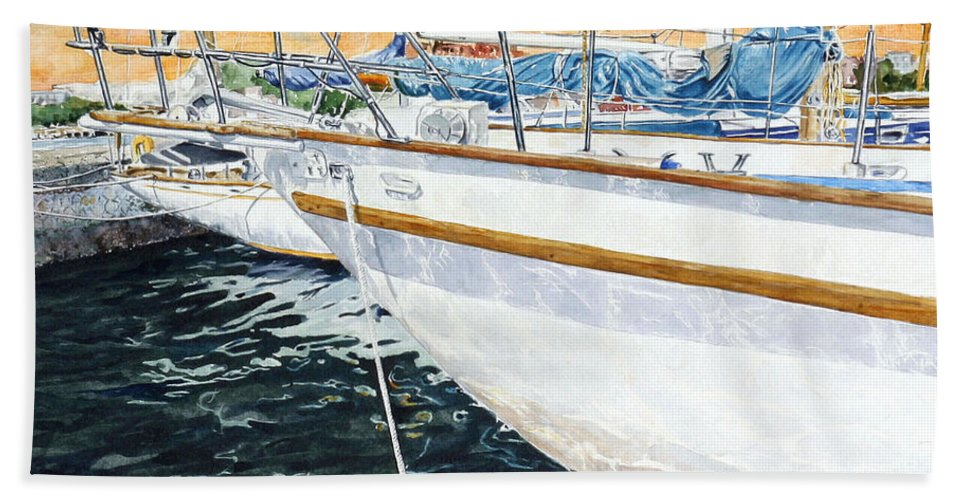 Schip. Boats Bath Sheet featuring the painting Su'entu E Nora Riflessi by Giovanni Marco Sassu