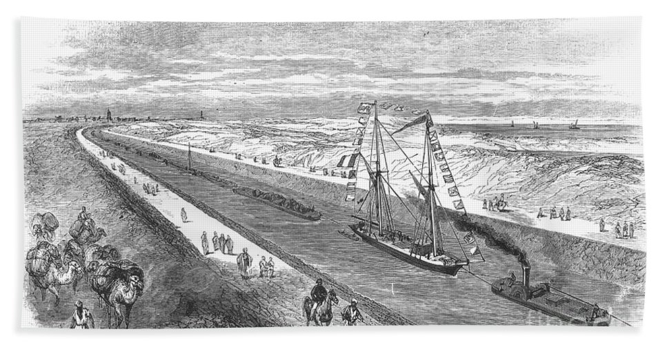 1868 Hand Towel featuring the photograph Suez Canal, 1868 by Granger