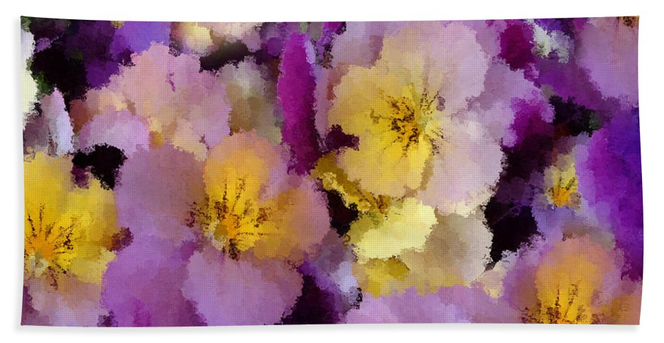 Painting Bath Sheet featuring the painting Sugared Pansies by Georgiana Romanovna