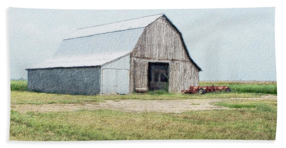 Arcitecture Hand Towel featuring the digital art Summer Barn by Debbie Portwood