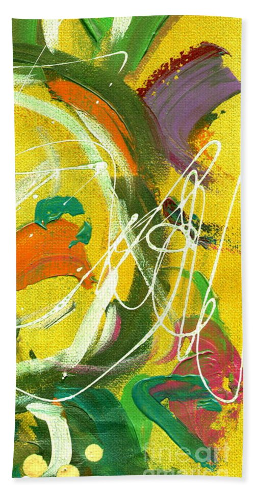 Green Bath Sheet featuring the painting Summer Bliss IIi by Angela L Walker