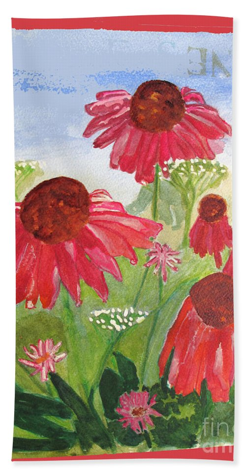 Summer Bath Sheet featuring the painting Summer Coneflowers by Sandy McIntire