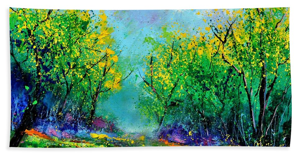 Landscape Bath Sheet featuring the painting Summer In The Wood 452160 by Pol Ledent