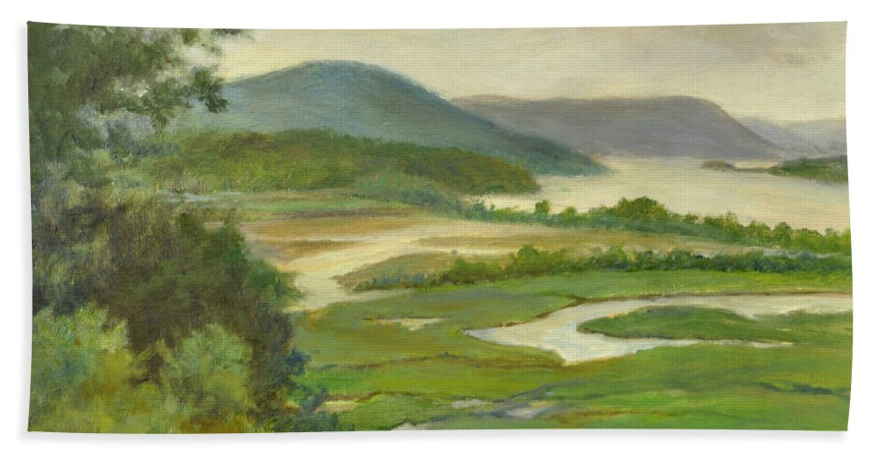 Hudson River Bath Sheet featuring the painting Summer Morning Hudson Highlands by Phyllis Tarlow