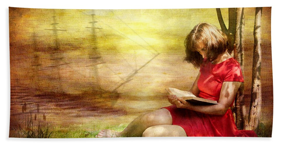 Adult Bath Sheet featuring the digital art Summer Reading by Svetlana Sewell