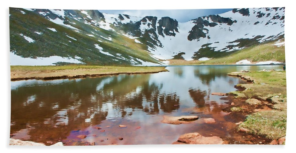 Brown Bath Sheet featuring the photograph Summit Lake by Peggy Starks