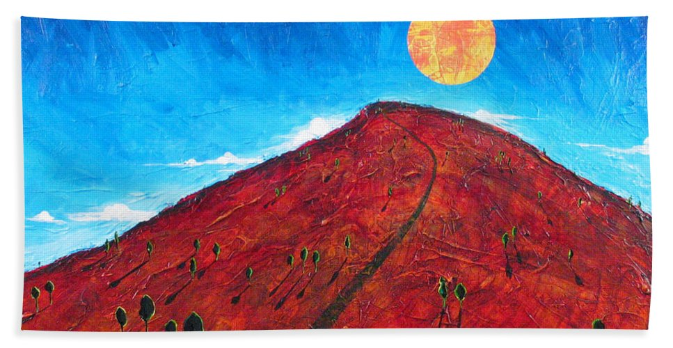 Landscape Bath Towel featuring the painting Sun Over Red Hill by Rollin Kocsis