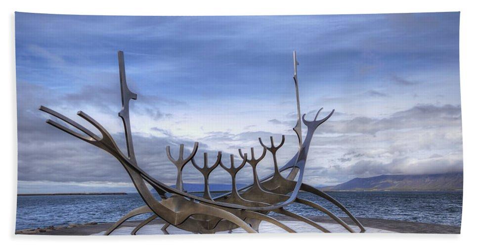 Viking Bath Sheet featuring the photograph Sun Voyager by Evelina Kremsdorf
