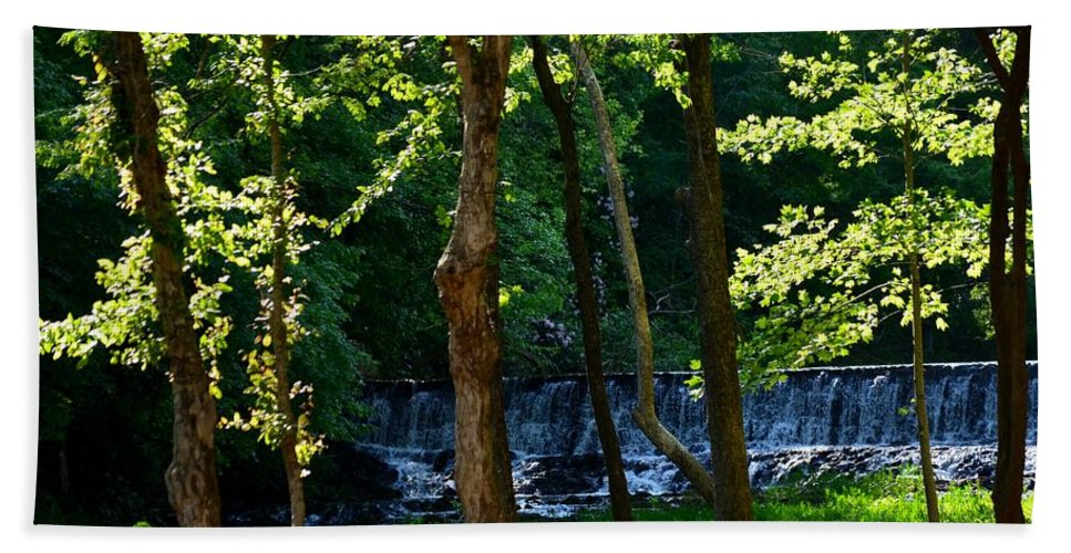 Waterfalls Bath Sheet featuring the photograph Sundown At The Falls by Maria Urso