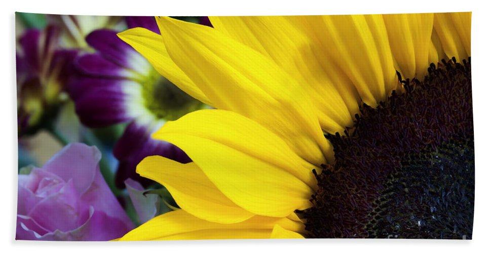 Sunflower Hand Towel featuring the photograph Sunflower Closeup by Simon Bratt Photography LRPS