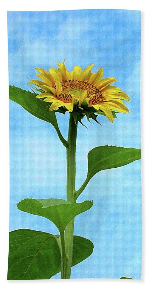 Sunflower Bath Sheet featuring the digital art Sunflower by Lizi Beard-Ward