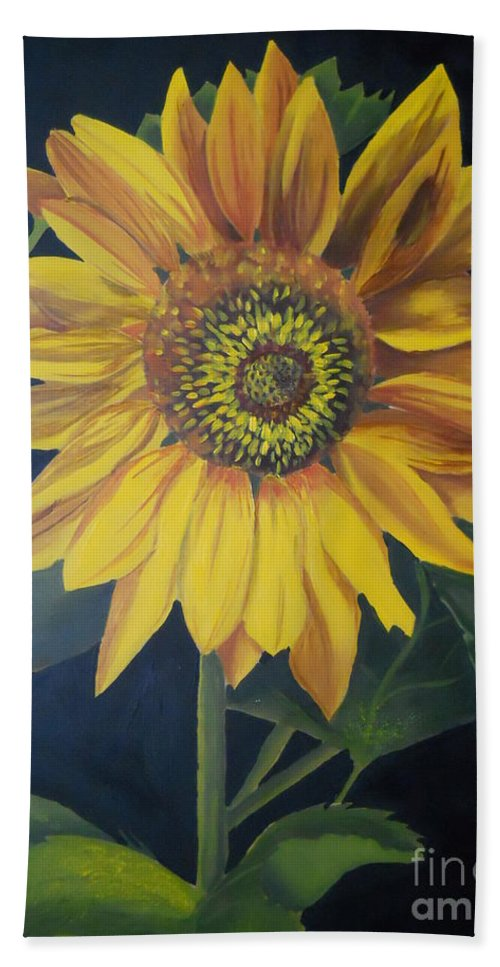 Sunflower Hand Towel featuring the painting Sunflower by Yenni Harrison