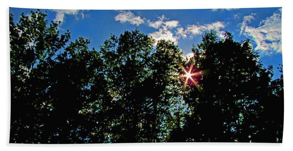 Bath Sheet featuring the photograph Sunlight Thrugh The Treetops by Debbie Portwood