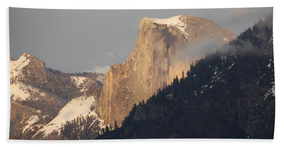Sunlit Half Dome Bath Sheet featuring the photograph Sunlit Half Dome by Wes and Dotty Weber