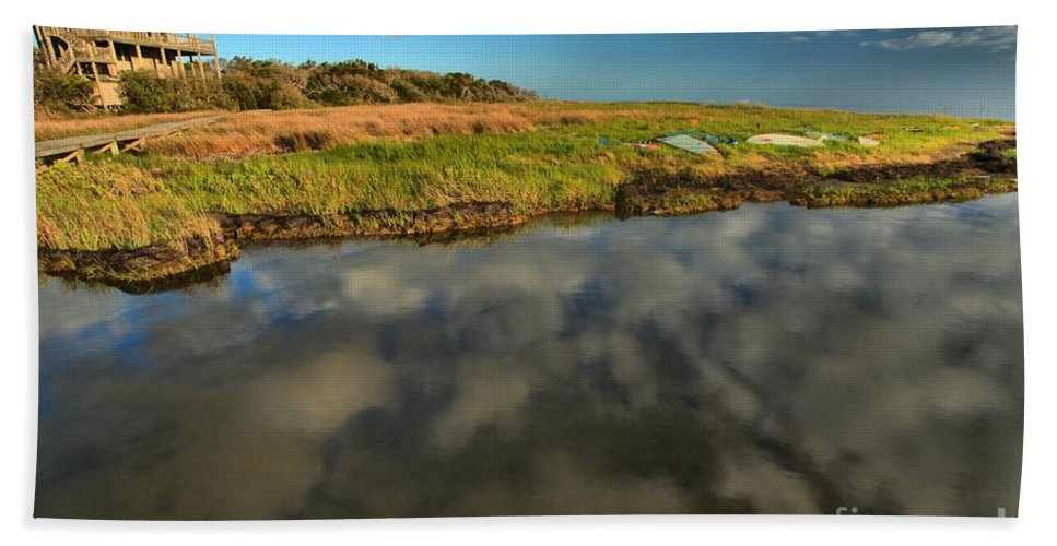 North Carolina Outer Banks Hand Towel featuring the photograph Sunrise At Brooks Island Refuge by Adam Jewell