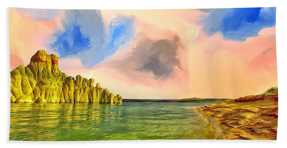 Sunrise Hand Towel featuring the painting Sunrise On Lake Powell by Dominic Piperata