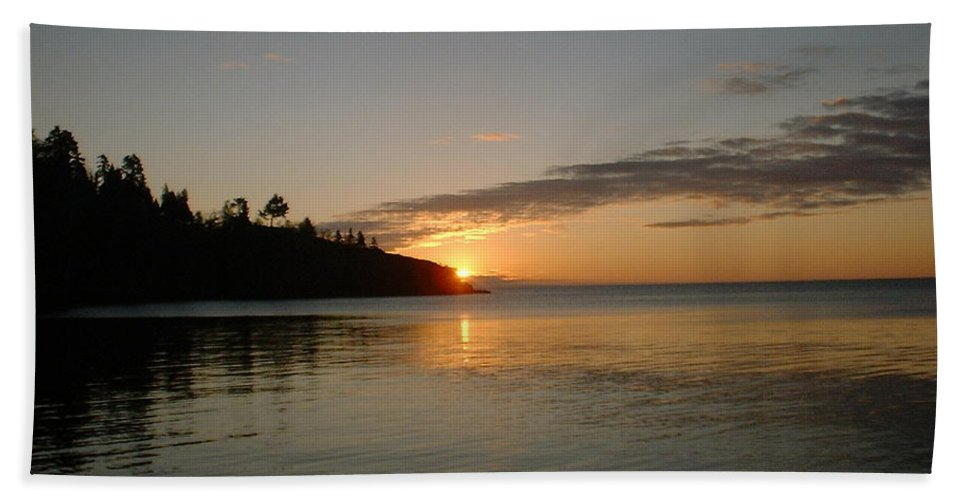 Sun Hand Towel featuring the photograph Sunrise On Superior by Bonfire Photography