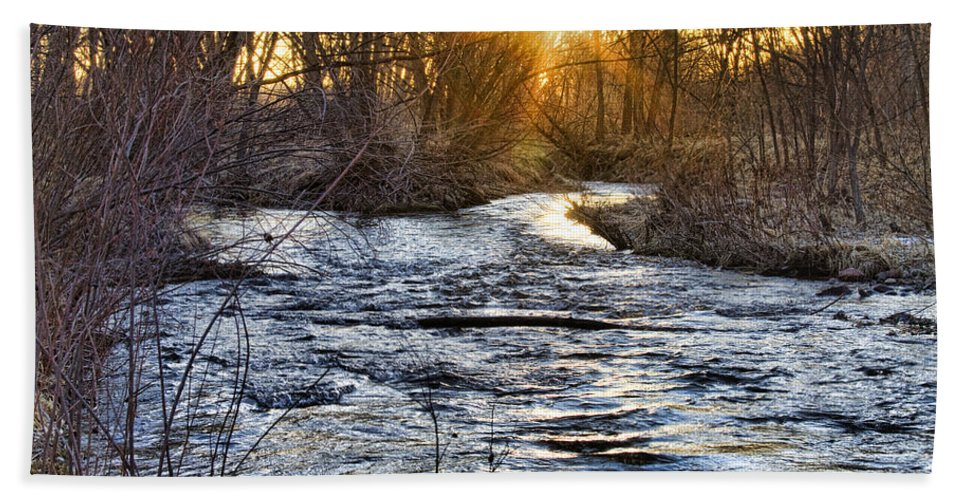 Early Bath Sheet featuring the photograph Sunrise On The St Vrain River by James BO Insogna