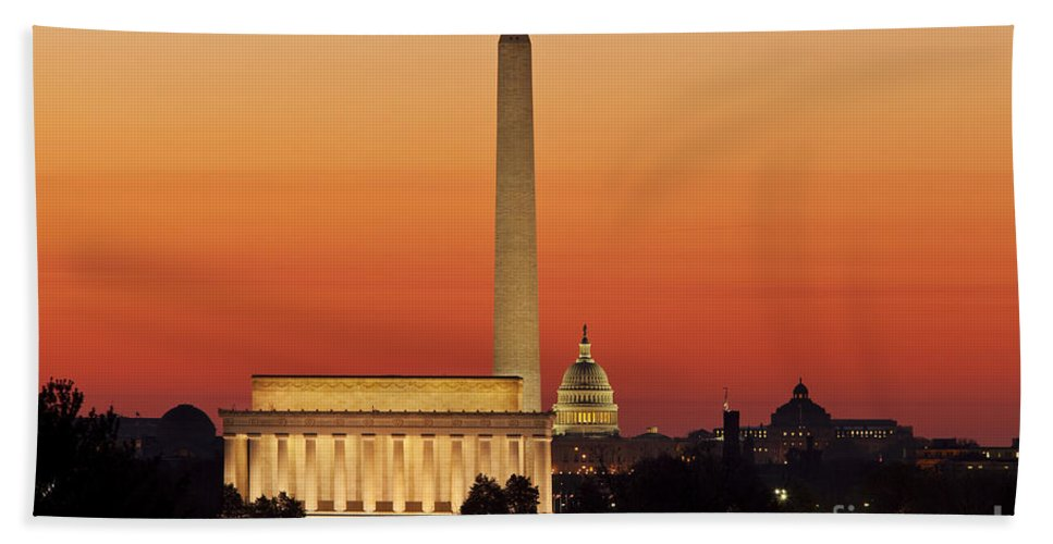 Dawn Hand Towel featuring the photograph Sunrise Over Washington Dc by Brian Jannsen