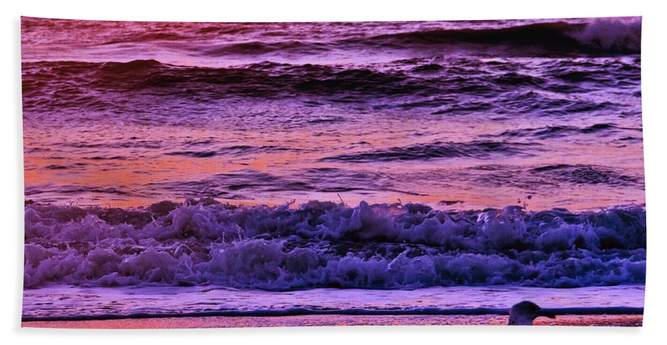 Florida Bath Sheet featuring the photograph Sunrise Sea And Seagull by Roger Wedegis