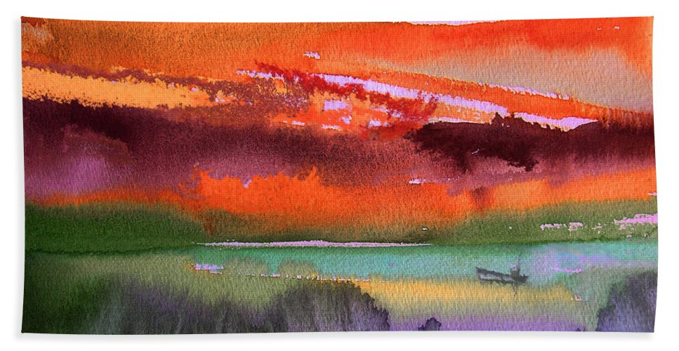 Landscapes Hand Towel featuring the painting Sunset 04 by Miki De Goodaboom