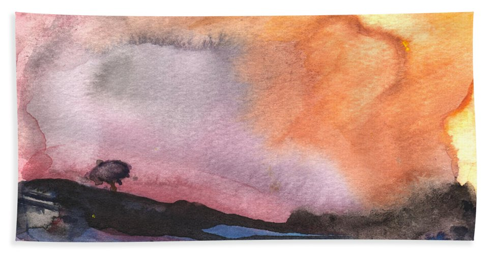 Aquarelle Hand Towel featuring the painting Sunset 36 by Miki De Goodaboom