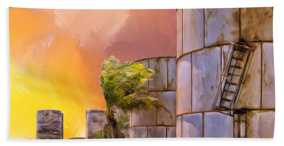 Tropics Hand Towel featuring the painting Sunset And Abandoned Oil Tanks by Dominic Piperata